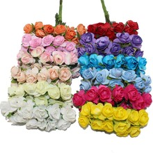 144PCS one lot  1cm Head Multicolor Artificial Paper Flowers  Rose Use For Decorative Gif(China (Mainland))
