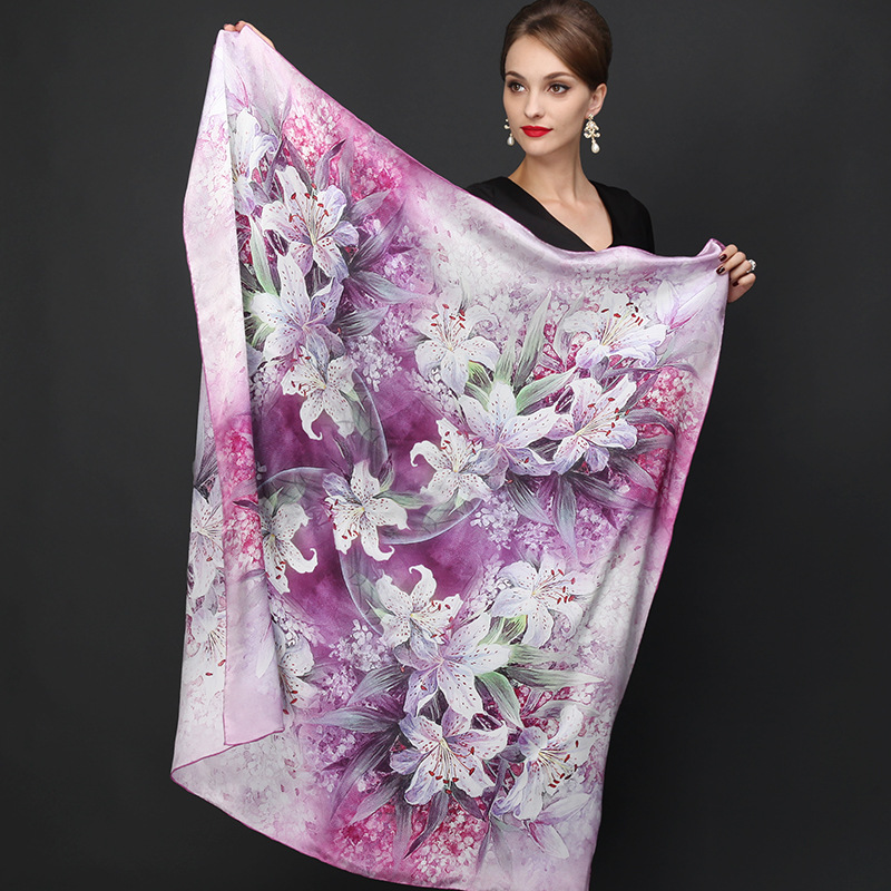 110*110cm 100% Mulberry Big Square Silk Scarves Fashion Floral Printed Shawls Hot Sale Women Genuine Natural Silk Scarf Shawl(China (Mainland))