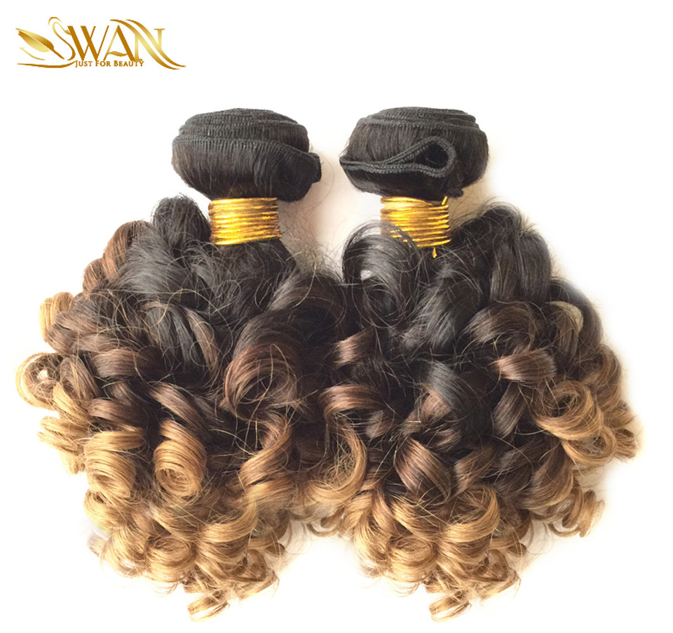 Ombre Brazilian Hair 1Bundle Ombre Blonde Hair Weave 1B/4/27 Brazilian Hair Extension Spiral Curl Weave Ombre Brazilian Hair