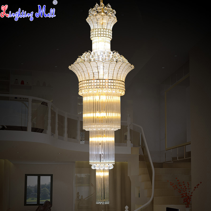 W Modern S Gold Stairs Crystal Pendant Lights Foyer Lamps Villa Project Lighting Fixture Bedroom Light LED Bulbs Included - E-Mall store