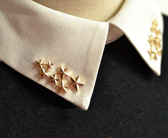 Punk Gothic Gold / Silver Stars Blouse Shirt Neck Tips Collar Clips Brooch Stud Buckle Pin 1 Pair Fashion Accessory For Women(China (Mainland))