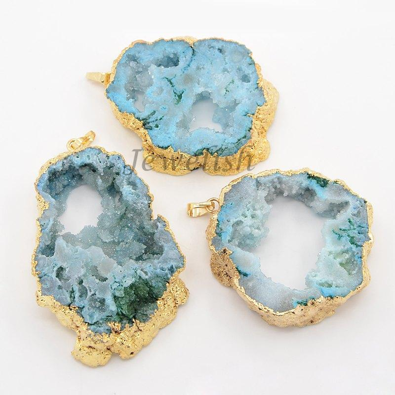 Natural Geode Agate Druzy Slice Pendants, with Golden Brass Bails, Nugget, Cadmium Free &amp; Nickel Free &amp; Lead Free, SkyBlue,<br><br>Aliexpress