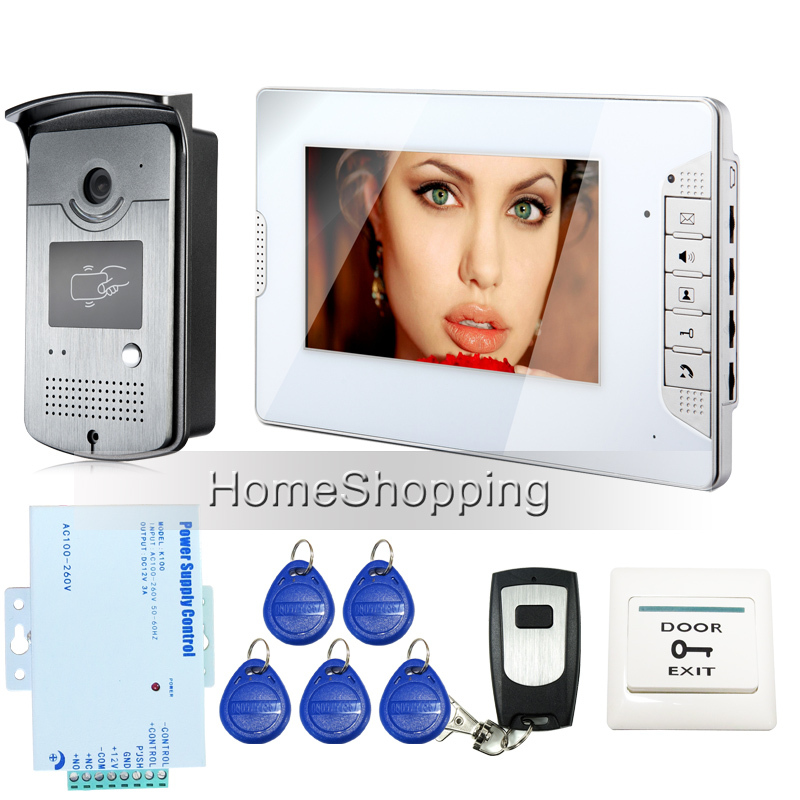"Brand New 7"" Color Screen Video DoorPhone Intercom System 1 Monitor + 1 700TVL RFID Access Camera + Remote Control FREE SHIPPING(China (Mainland))"