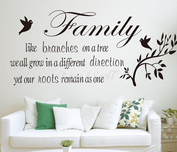 Family like 26x 57cm Cute Wall Sticker PVC Removable Mural Home Decoration Shelf Art Characters Writing,Free Shipping(China (Mainland))