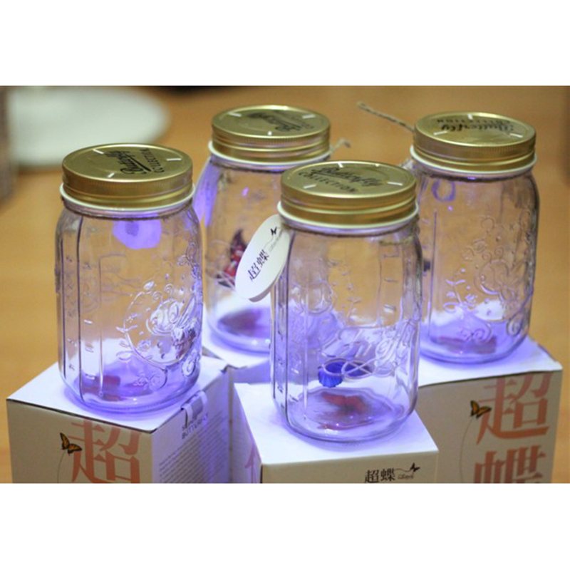 LED Light Romantic Glass Butterfly Jar Tank / Butterfly Bottle / Valentines ' Gift 1pcs(China (Mainland))