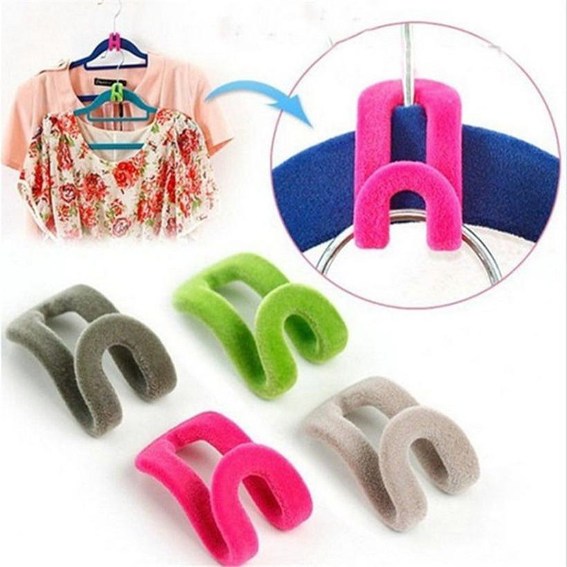 20 pcs Clothes Hanger Home Creative Easy Hook Mini Flocking Closet Organizer Random Color(China (Mainland))