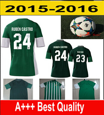 Real Betis Shirt Jersey Top Thailand quality 2016 embroidered logo Real Betis Ruben Castro 24 custom name and number(China (Mainland))