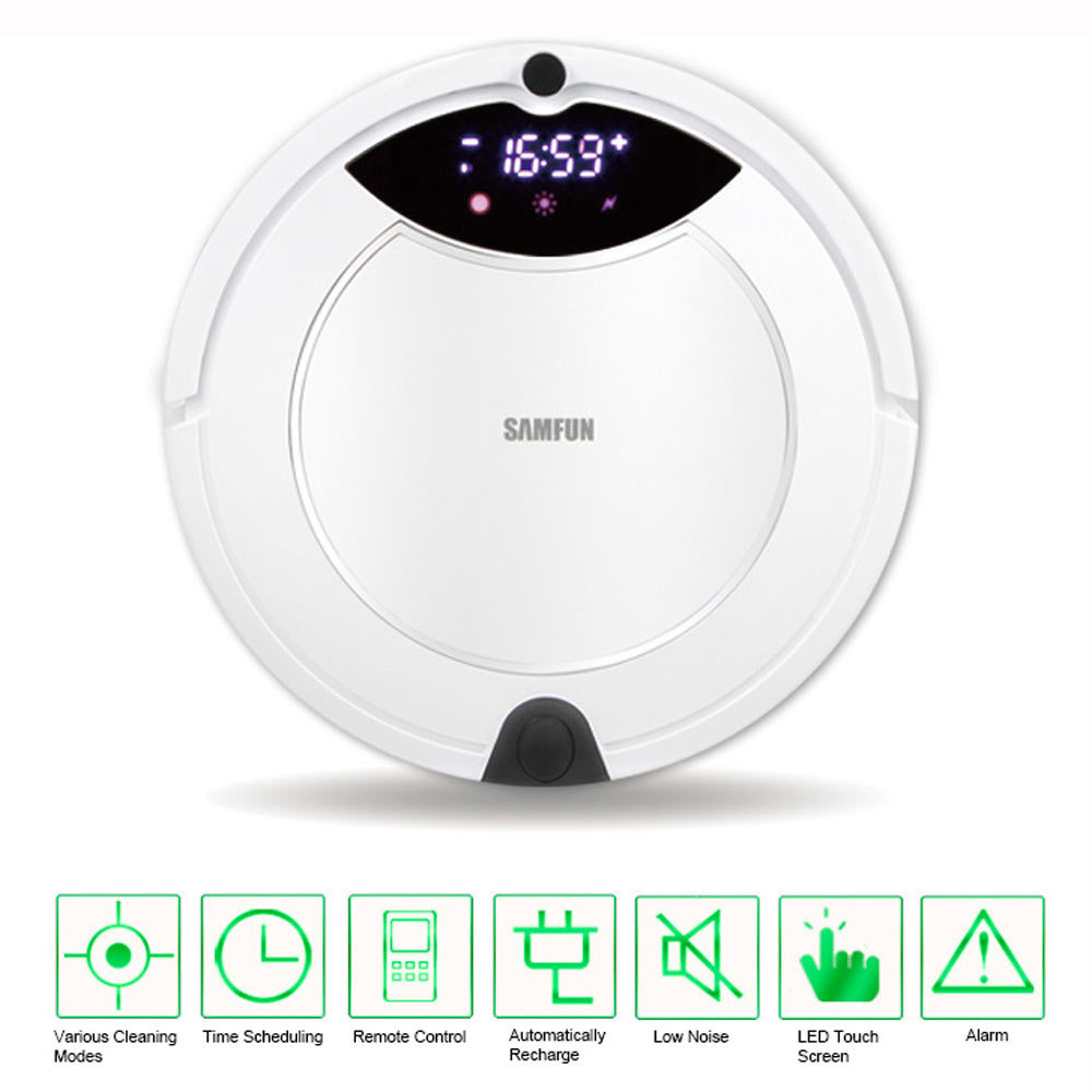 Multifunctional Automatic Recharge Schedule LED Screen Intelligent Cleaning Robot Vacuum Cleaner Sweeper with Mop Remote Control(China (Mainland))