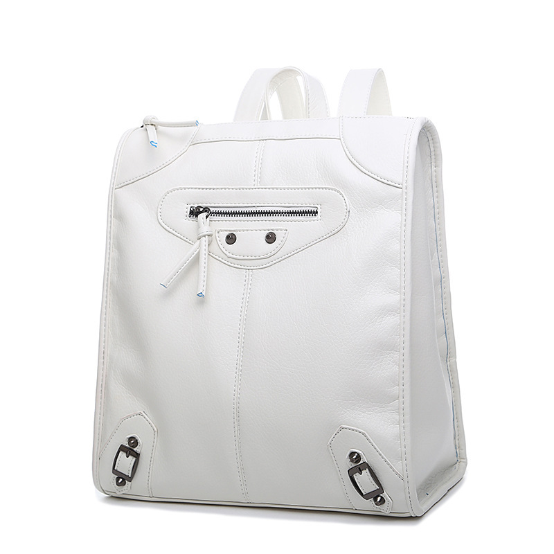 White Preppy Style Backpacks School Girl Soft Day Trendy Simple Cute Daily Backpack Women Casual Black Pretty Shoulder Bags - We Are Fashion Empire store