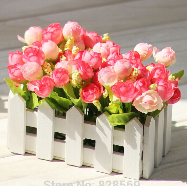 1 Set High Quality Wooden Fence Vase Flowers Rose And
