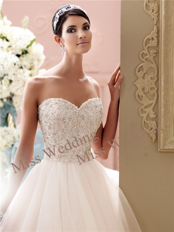 Miss Wedding Strapless Tulle and Organza over Taffeta Ball Gown Wedding Dress with Sweetheart Neckline and Hand-beaded 115250(China (Mainland))