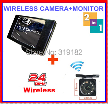 2.4ghz wireless camera RCA VideoTransmitter Receiver reverse camera connect 3.5 TFT LCD monitor 2 av in video for car safe park(China (Mainland))