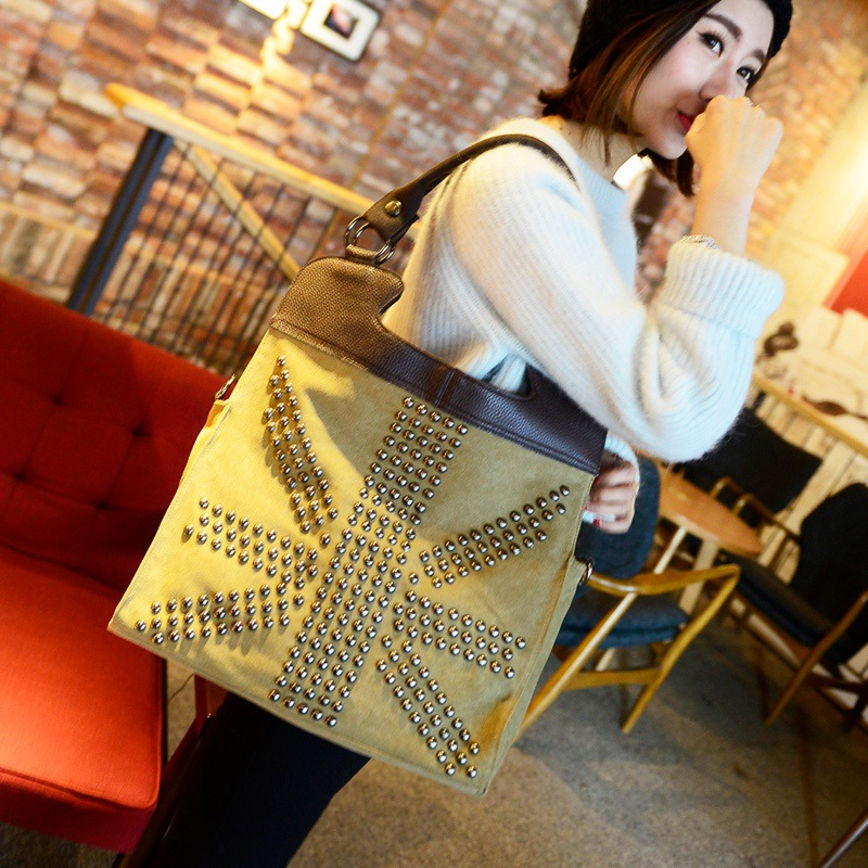 2015 New European and American flags rivets handbags fashion trend canvas shoulder bag Pluse Size(China (Mainland))