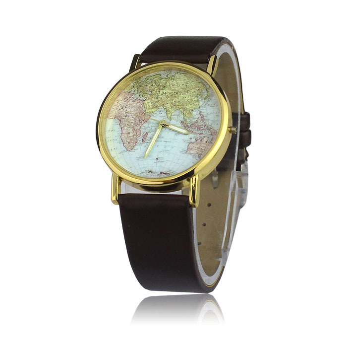 Гаджет  2014 Newest 8 color Women girl Retro World Map Design Leather Alloy Band Analog Quartz Wrist Women girl Watches T-east None Часы