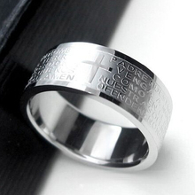 2015 Hot Sale Fashion Punk Jewelry Men Stainless Steel Bible Lord's Prayer Cross Ring Finger Rings