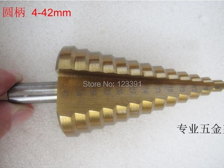 1pc Round shank 4-42mm HSS straight step Drill Bit Set core drill bit TIN Coated cone Step Drill Bit Set hole cutter HSS 4241<br><br>Aliexpress