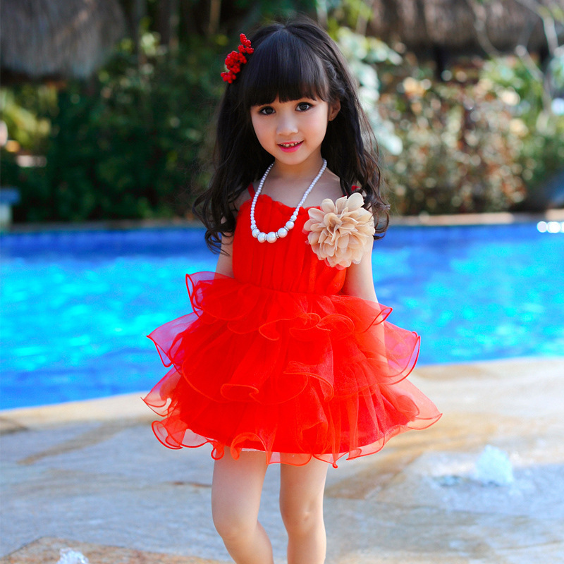 Baby Girl Clothes Sale 2015 Summer Kids Clothes Floral 100% Cotton Child Party Princess Tank Girl Dress Sundress Red,blue,yellow(China (Mainland))