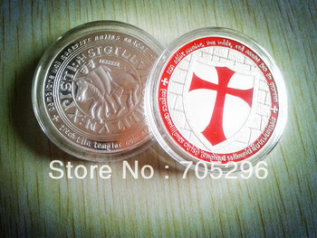 *NEW* 1oz MASONIC KNIGHT TEMPLAR MEDAL CHALLENGE 24K .999 FINE SILVER PLATED AND RED LAYERED CROSS COIN,10pcs/lot free shipping