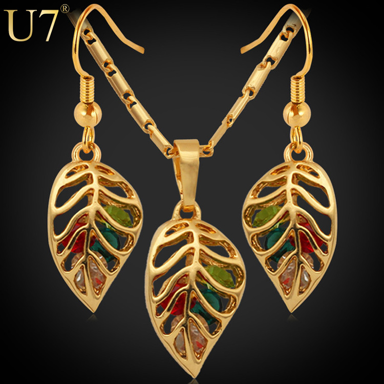 U7 Trendy Jewelry Set Women Party Gift New 18K Real Gold Plated Colorful Crystal Necklace Earrings Fashion Jewelry Sets S408(China (Mainland))