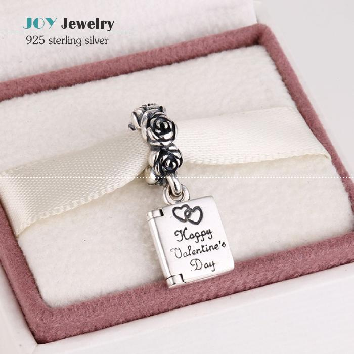925 Sterling Silver Valentine's Day Card Dangle Charm Pendants Best Valentine Gift Fits European Brand Bracelet For Women LW363(China (Mainland))