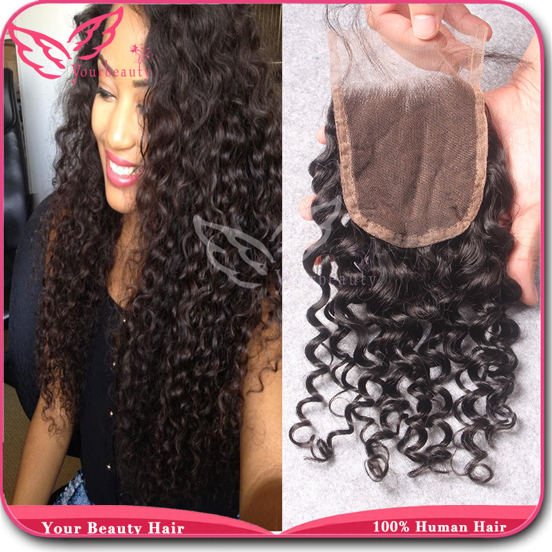 3.5*4 Brazilian Deep Curly Closure 100% Unprocessed Virgin Human Hair Top Lace Closure Bleached Knots Free Middle 3 Part InStock(China (Mainland))
