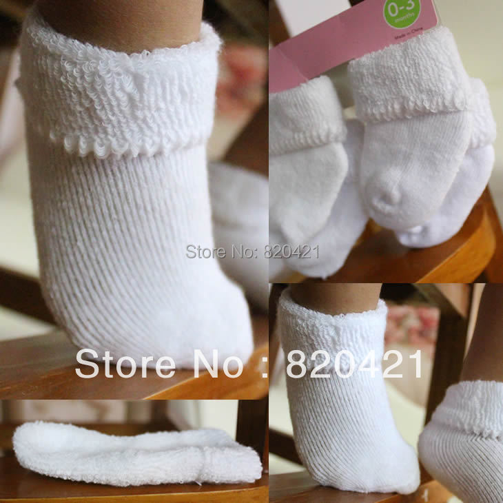16PCS=8 pairs 100% cotton newborn socks loop pile baby thermal socks newborn baby 100% soft cotton napped socks baby sox(China (Mainland))