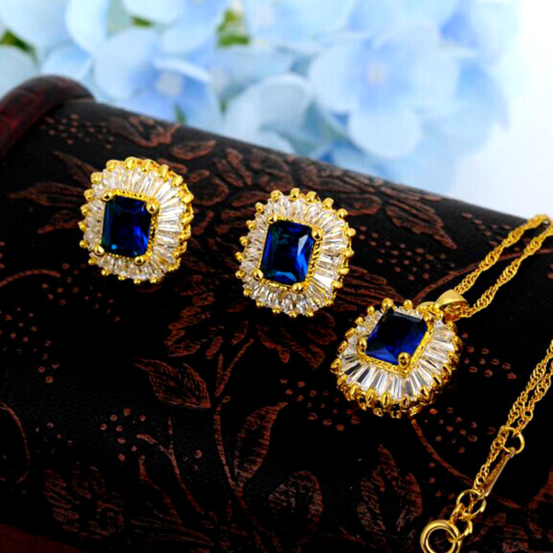 Square Crystal Necklace Pendant Stud Earrings Sapphire Jewelry Sets Water Drop 18K Gold Plated Jewelry Set Women Wedding NT02(China (Mainland))