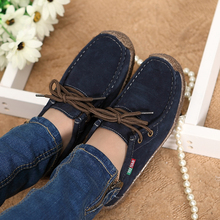 2015 spring women genuine leather shoes woman Hand-sewn suede leather flats cowhide flexible boat shoes women loafer plus size(China (Mainland))
