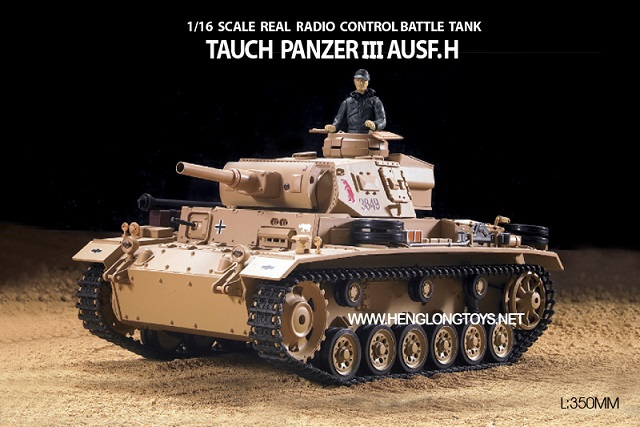 RC/Remote Control Heng Long Tank HengLong 3849 TAUCH PANZER III AUSF.H 1:16 Radio German radio control toys missile rc tank