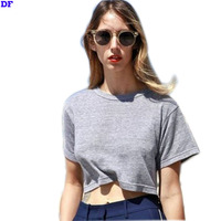 Summer Style Solid Crop Top 2015 Harajuku T Shirt Women Hot Sale 6 Color Sexy Crop Top Cropped Short Hot Plain Women`s T Shirt L