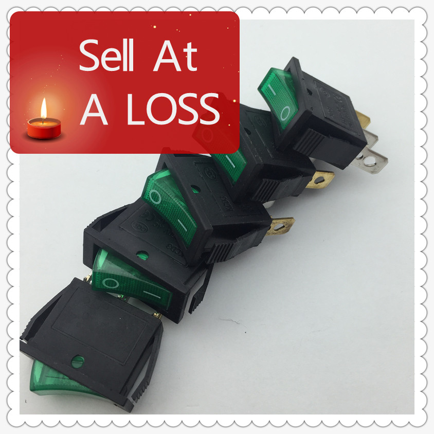 5pcs/lot Green LED Light SPST 3PIN ON/OFF G124 Boat Rocker Switch 16A/250V 20A/125V Car Dash Dashboard Truck RV ATV Home(China (Mainland))