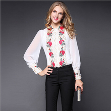 New arrival 2016 Autumn Peter pan collar SILK blouse, Women's long sleeve embroidery top blouses, white black women shirts