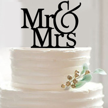 Buy Mr & Mrs Cupcake Cake Topper Acrylic Black Cake Flags Festival Birthday Glitter Wedding Anniversary Party Cake Decor Supplies for $1.80 in AliExpress store