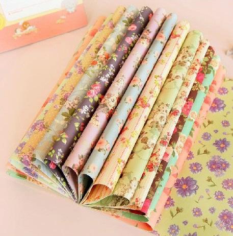 Personalized Packaging Material Gift Paper Wrapping Paper Double Sided Printing floral scrapbooking paper 30.4*22.5cm(China (Mainland))