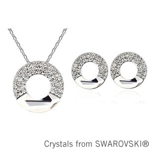 2015 gift for girlfriend! Crystal circle necklace earrings set Made with SWAROVSKI ELEMENTS(China (Mainland))