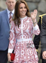 Buy Fashion Kate Middleton Princess Red Flower embroidery Long Sleeve Women pleated Dress for $64.50 in AliExpress store