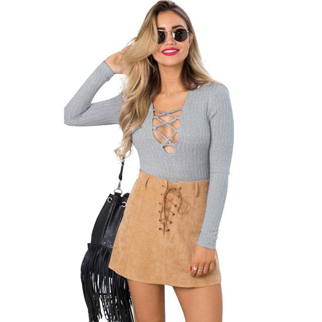 Новый орган костюм рубашка блузка женщины мода Bodycon повязку передняя v-образным ...