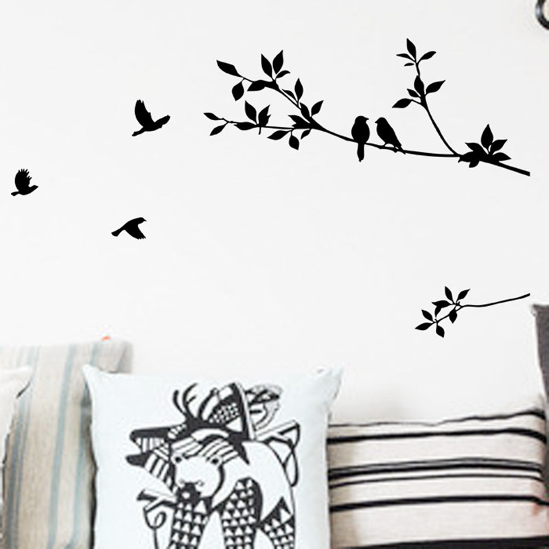 3D Removable Creative Sticker Wall Decor For Living Room Fly Bird Leaf Decoration Rustic Animal Tree Wall Sticker24*60CM(China (Mainland))