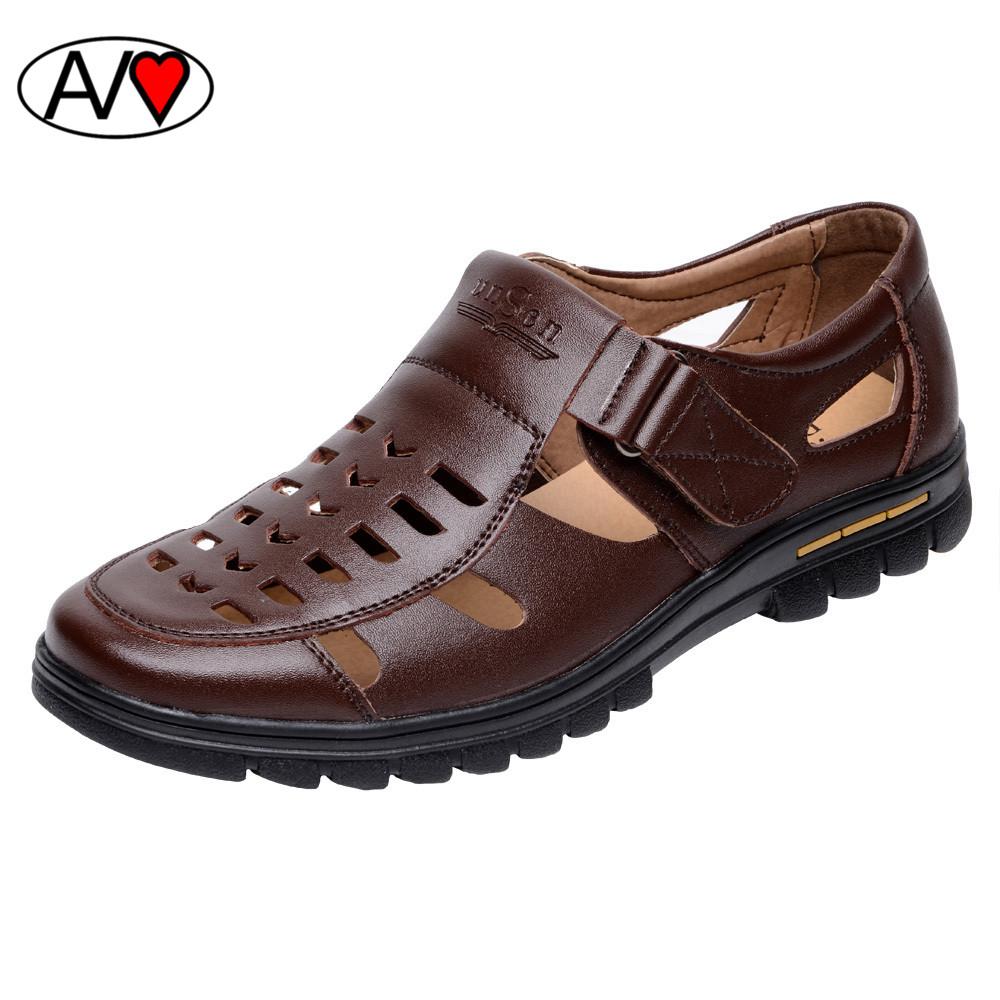 New Fashion Summer Breathable Genuine Leather Men Sandals Hollow Platform Sandals Man Large Size Shoes<br><br>Aliexpress
