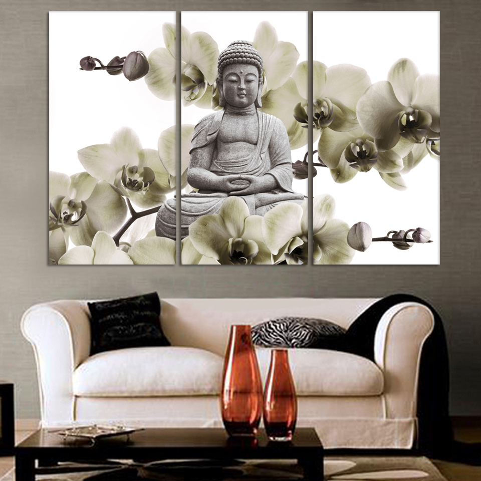 Hd buddha canvas prints modern 3 panels unframed painting for Ambiance home decoration laren