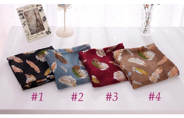 Womens scarfs fashionable,summer style,Feathers print,shawls and scarves,Muslin hijab,bandana,cape,scarf female,desigual,poncho(China (Mainland))