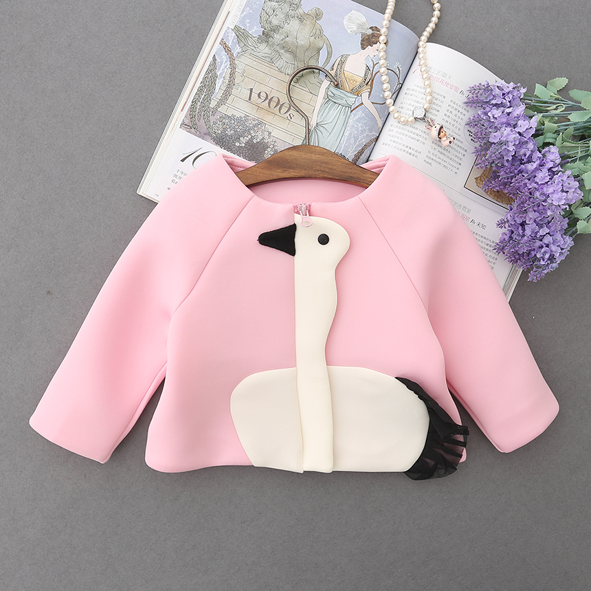 Baby Girl Spring Princess Outerwear O-neck Collar Casual Coats Kid Autumn Zipper Goose Print Children Clothing 5pcs/ LOT<br><br>Aliexpress