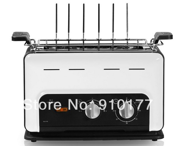 portable stainless steel vertical smokeless bbq household electric bbq hot dog machine ,barbecue grilling tools set white 035(China (Mainland))