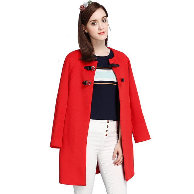 Женщины Осень Зима Красные Длинные Шерстяные Пальто 2016 Новый Сплошной Цвет Длинным Рукавом О-Образным Вырезом Куртки Ланге Damen Каминные RS436