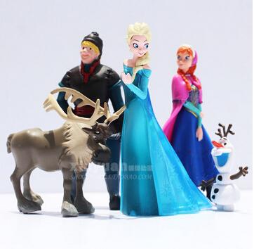 Disney Toys Hot Toys For Kid Fashion Frozen 5 Pcs Set Action Figures Princess Elsa Anna Prince Anime Figures Juguetes Ty064(China (Mainland))