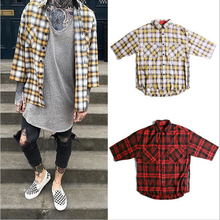 British Style Men's Shirts Fashion 2016 Spring Casual Dress China Tartan Clothing Men Clothes Plaid Fear Of God Hawaiian Shirt