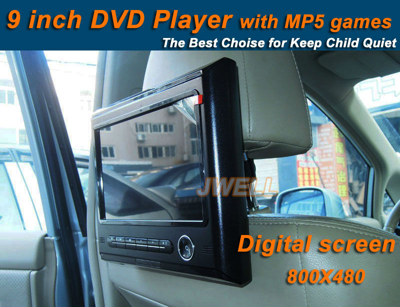 By DHL free shipping good quality 9 inch Digital screen car headrest DVD player with MP5 & Games easy install hot !(China (Mainland))