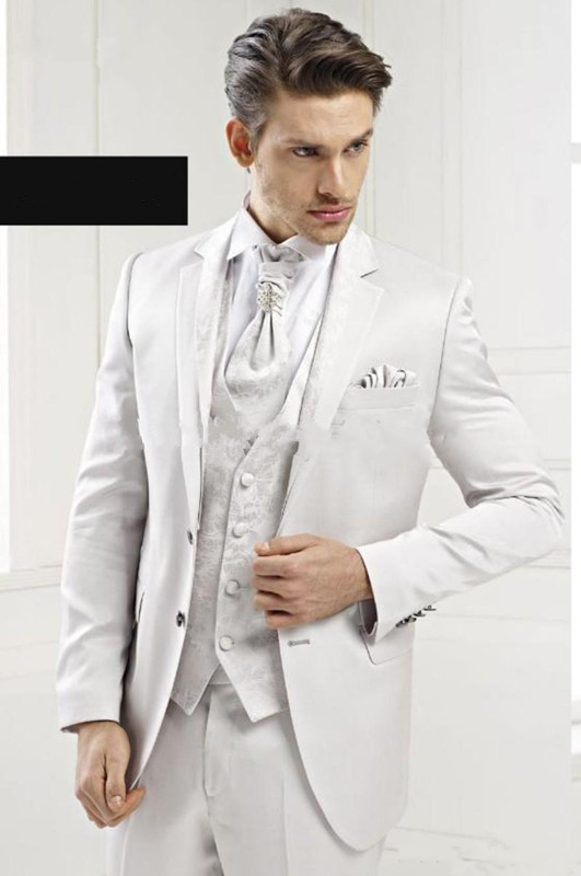 2015 Customize the high quality Brand New Handsome White Groom Tuxedos Men Dress Prom Clothing(Jacket+pants+tie+vest) N5(China (Mainland))