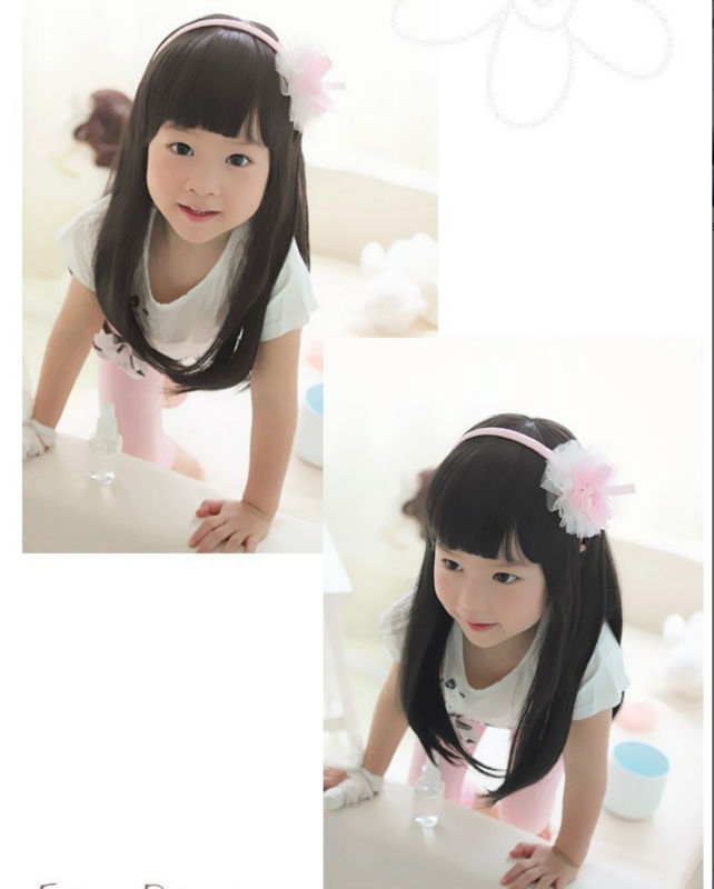 Child Hair Synthetic Long Cute Lovely Children Wigs Synthetic Korean Fiber Wavy Hair Wig for Little Girls Black Child Hair(China (Mainland))