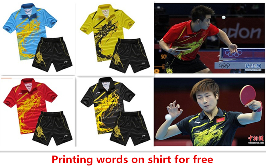 For Wholesale Printing words for free 2015 new badminton shirt badminton clothes table tennis shirt table tennis clothes(China (Mainland))